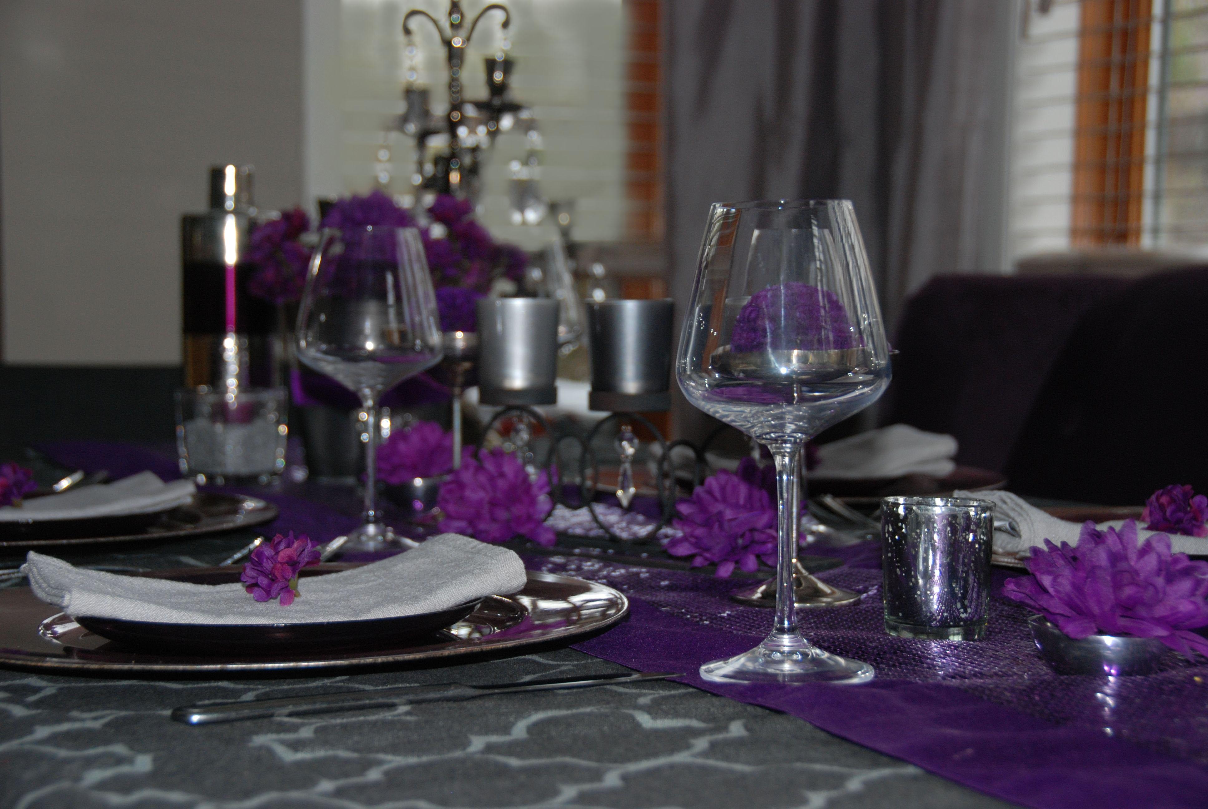 Decoration de mariage gris et mauve